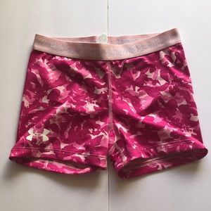 under armour pink and white spandex shorts